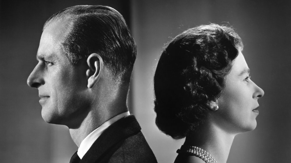 Prins Philip och drottning Elizabeth på Buckingham Palace 1958