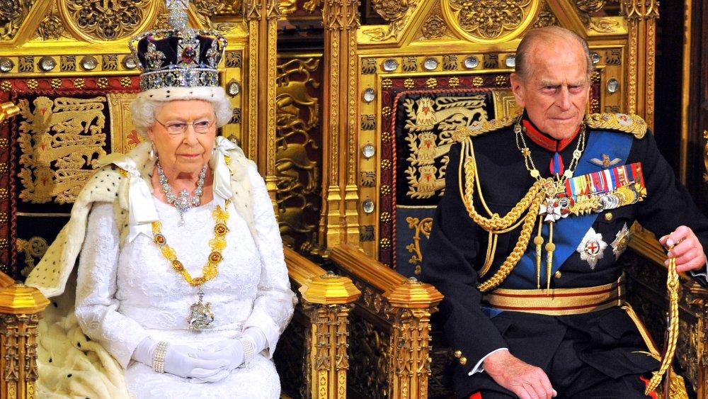 Prins Philip och drottning Elizabeth vid statsöppnande av parlamentet i överhuset på Palace of Westminster 2014