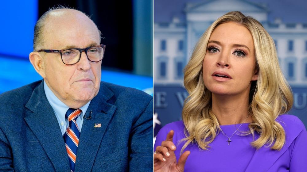 Delad bild av Rudy Giuliani och Kayleigh McEnany ser båda seriösa ut