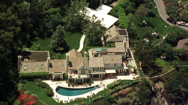 Flygfoto över Barbra Streisands hus