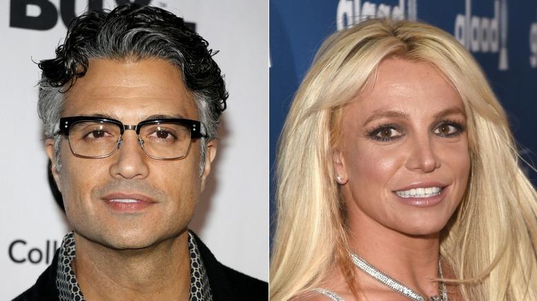 Jaime Camil poserar och Britney Spears ler