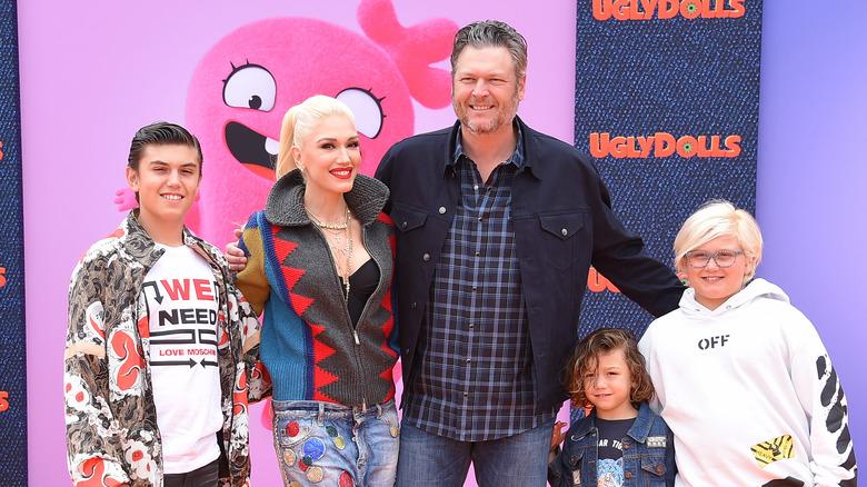 Gwen Stefani med Blake Shelton och hennes barn