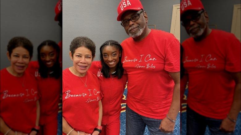 Simone Biles med sina föräldrar
