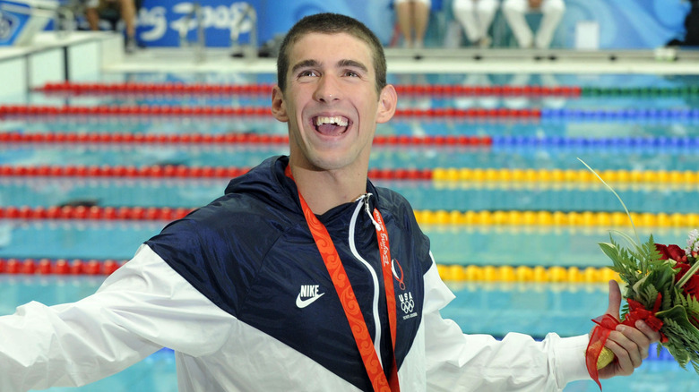 Michael Phelps efter att ha vunnit i Peking