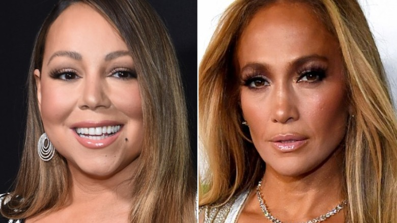 Mariah Carey ler, Jennifer Lopez tittar på kameran