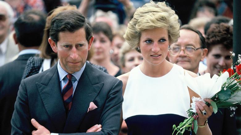 Prins Charles och prinsessa Diana, prins och prinsessa av Wales, under deras officiella besök i Ungern 1990